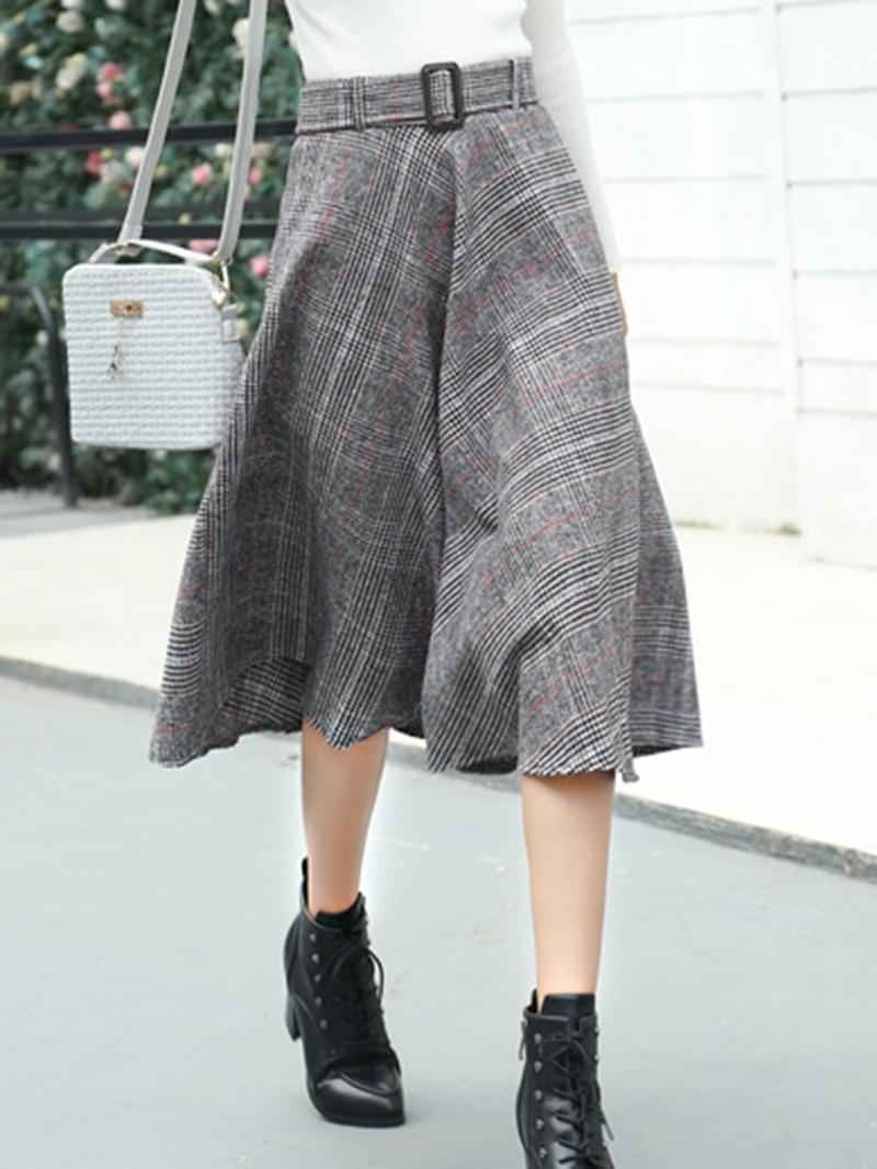 Ericdress Pleated Plaid Mid-Calf High Waist Skirt