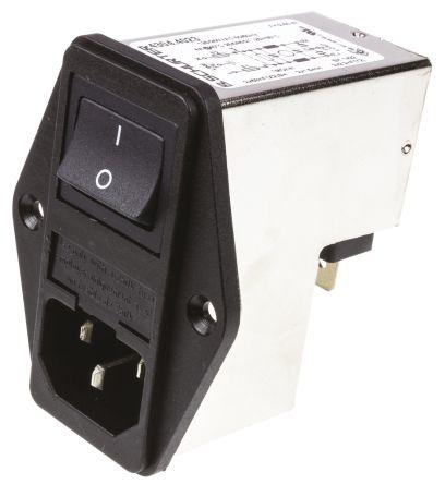 Schurter ,4A,250 V ac Male Panel Mount Filtered IEC Connector 4304.4023,Solder