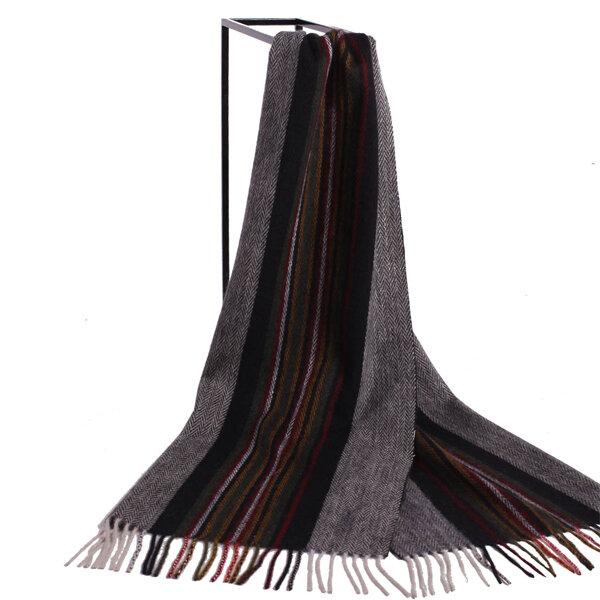 LYZA Men Women British Style Plaid Scarf Long Neckwear Wool Scarf Soft Shawl Dual Use