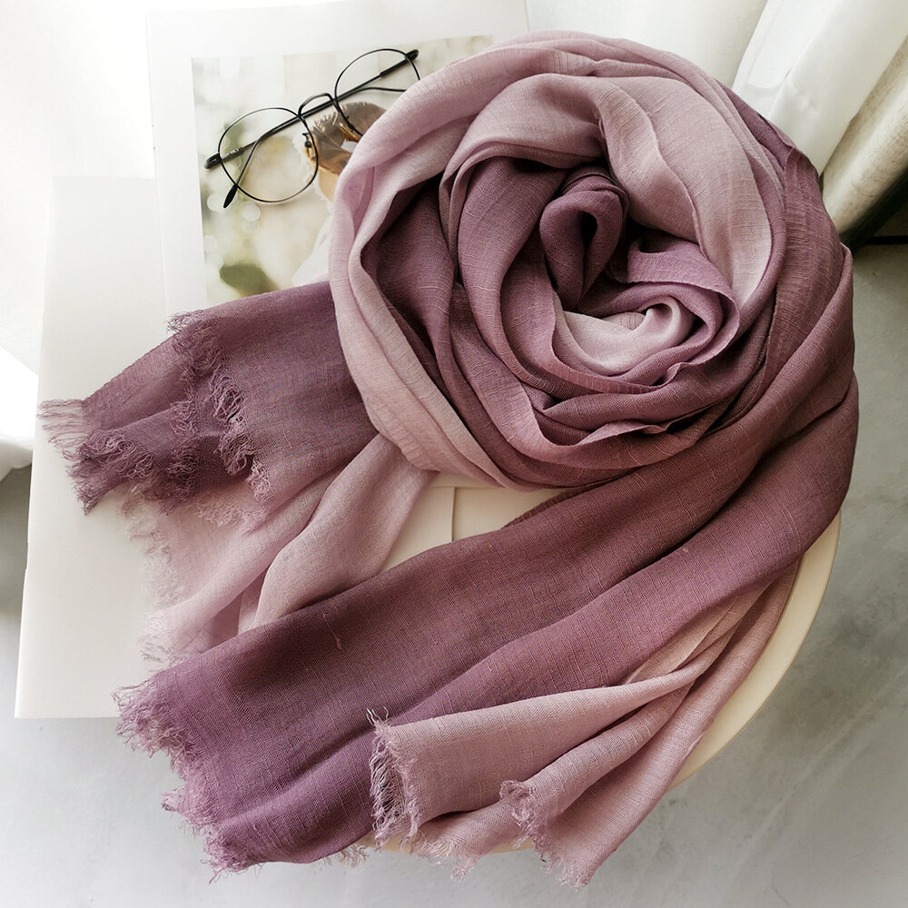 Cotton And linen Scarf Ladies Autumn And Winter Gradient Color Matching Ladies Forest Women Slub Yarn Shawl