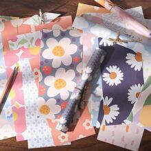12 Stuecke Schreibpapier mit Blumen Muster & 1 Stueck Umschlag