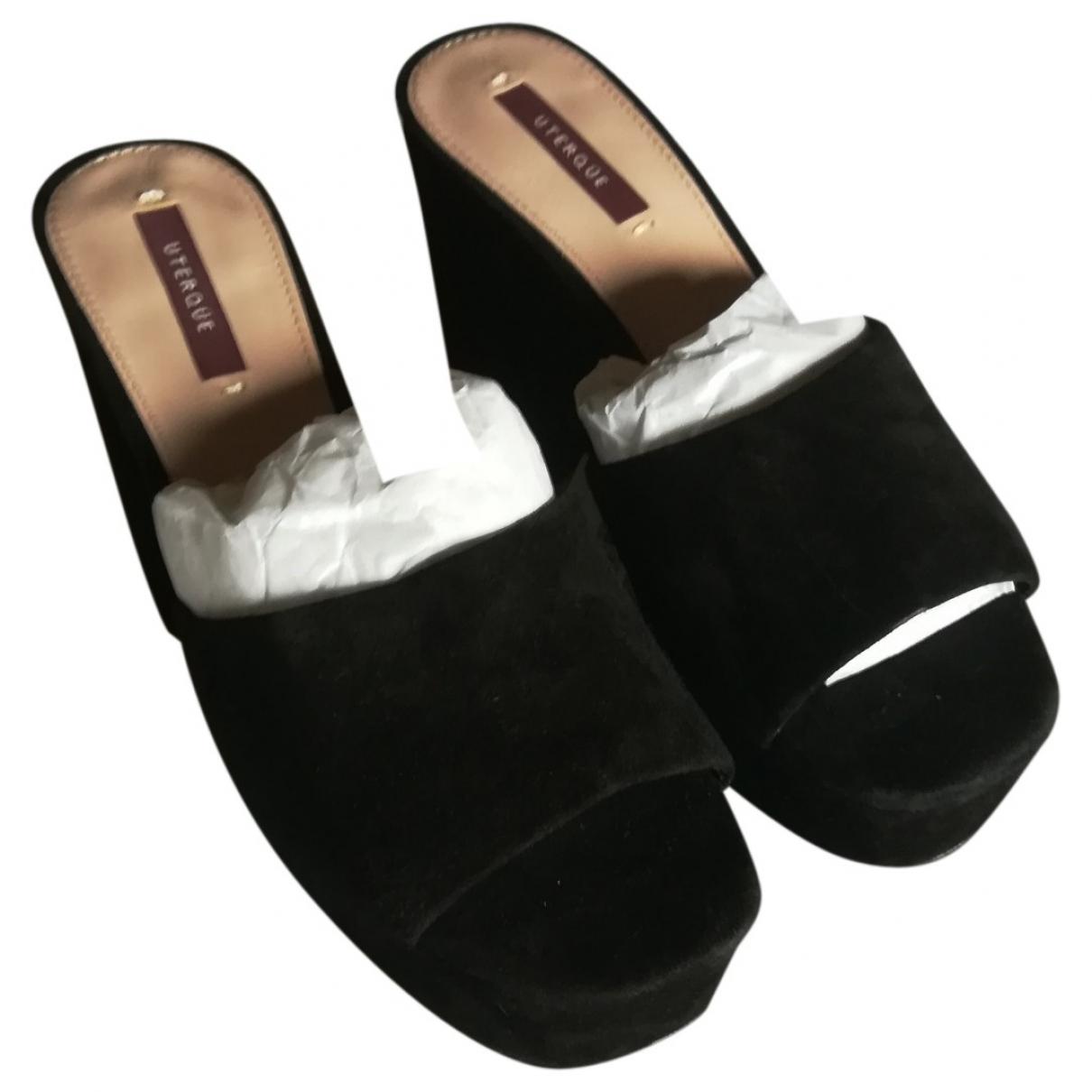 Non Signé / Unsigned \N Black Suede Sandals for Women 38 EU