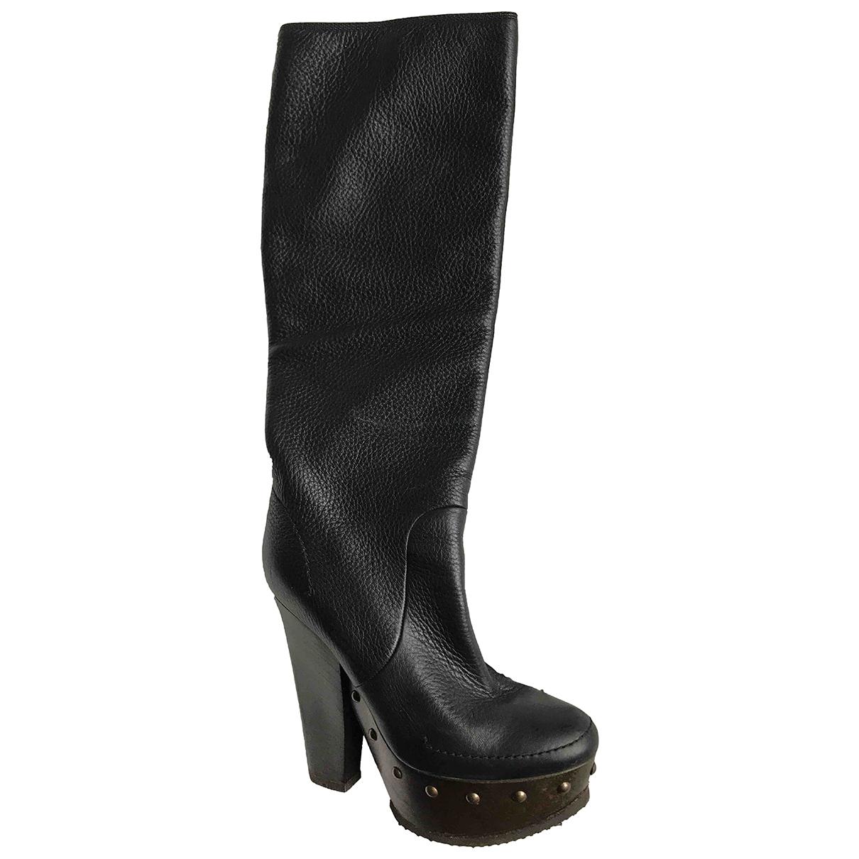 Lanvin N Black Leather Boots for Women 37 EU