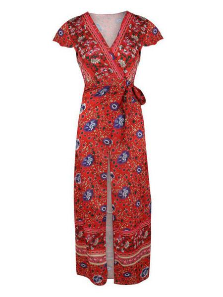 Milanoo Boho Maxi Dress Short Sleeve V Neck Knotted Floral Summer Dress