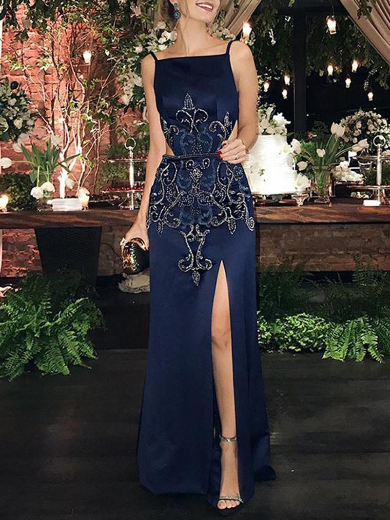 Ericdress Split-Front Spaghetti Straps Appliques Evening Dress