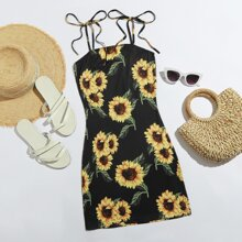 Knot Strap Sunflower Print Slip Dress