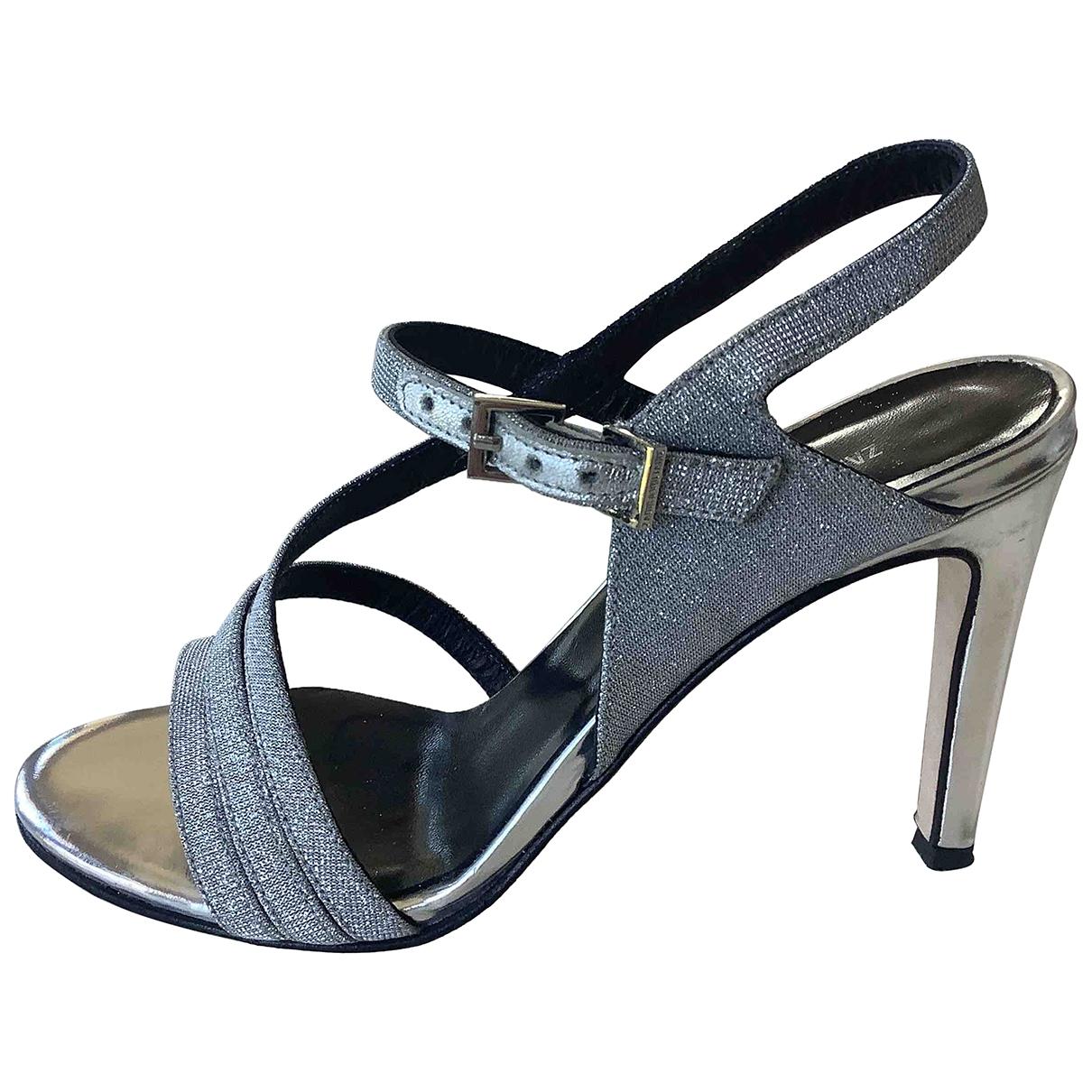 Zadig & Voltaire Spring Summer 2019 Silver Glitter Sandals for Women 36 EU