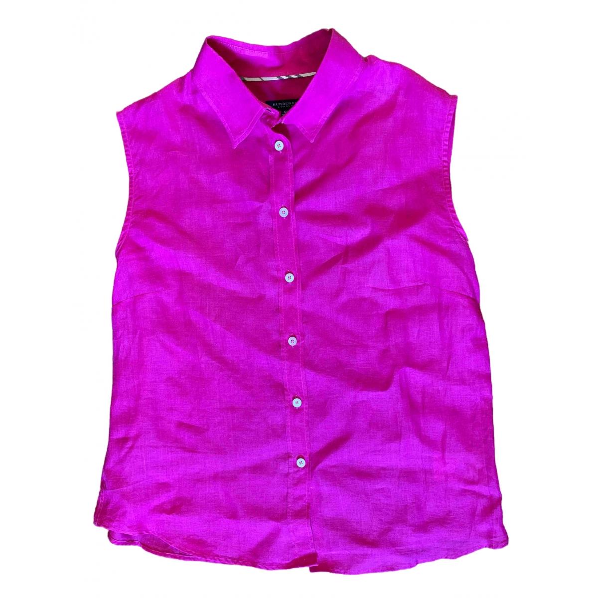 Burberry - Top   pour femme en lin - rose
