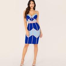 Vestido ajustado slip de espalda con cremallera de color combinado
