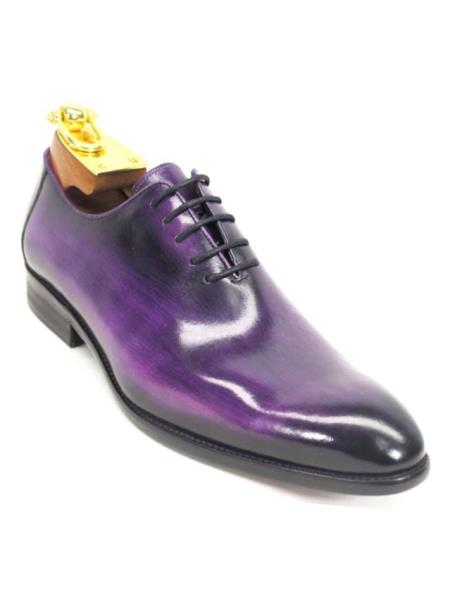 Men's Purple Lace Up Style Calfskin Leather Oxford Shoes