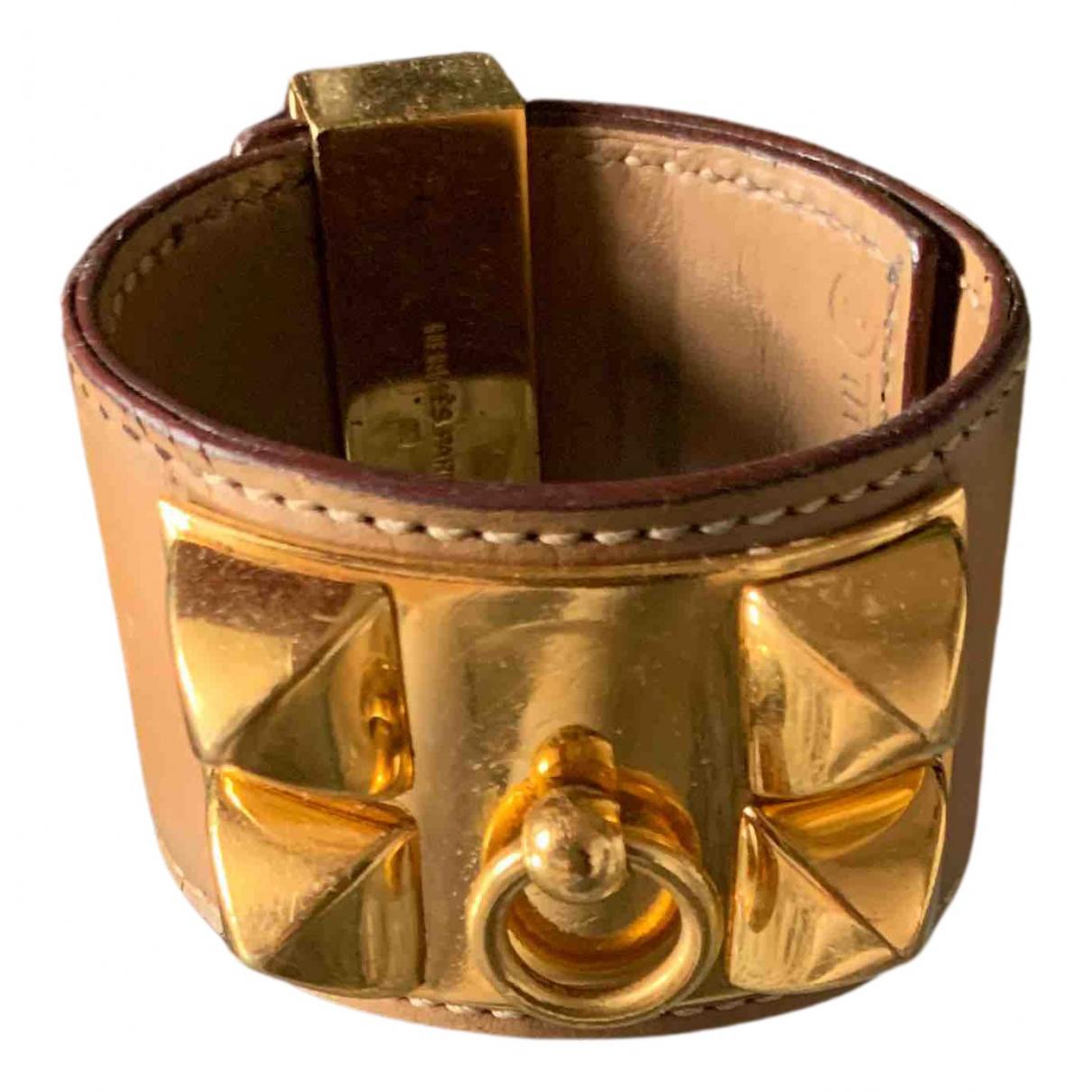 Hermes - Bracelet Collier de chien  pour femme en cuir - camel