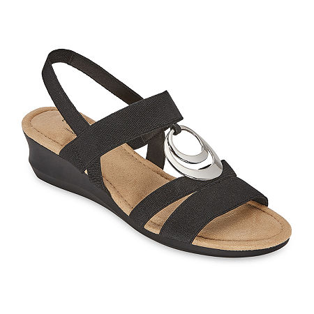 east 5th Womens Gear Wedge Sandals, 5 Medium, Black