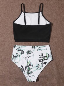 Leaf Print High Waisted Bikini Swimsuit