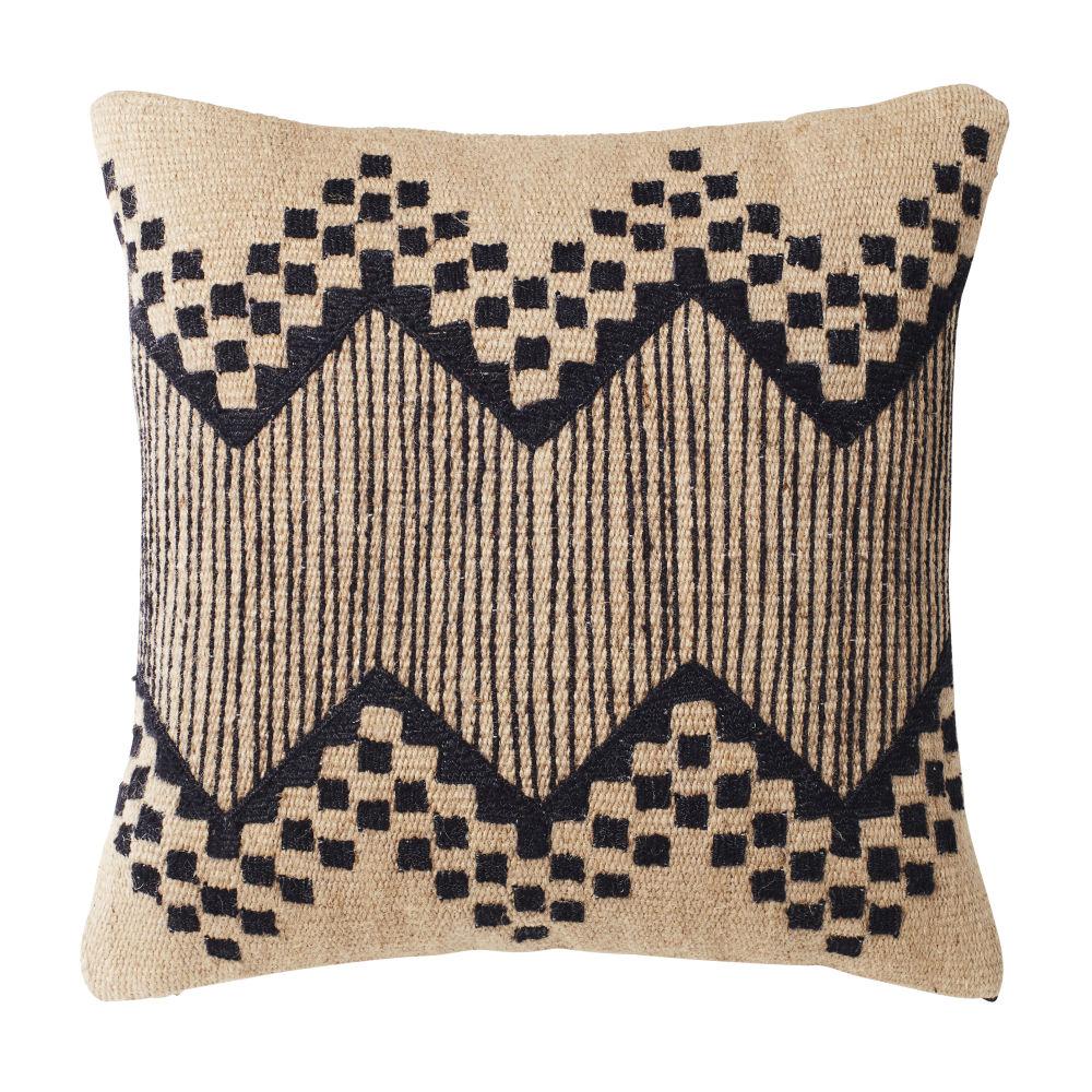 Kissen aus Baumwolle und Jute, schwarz bestickt 45x45