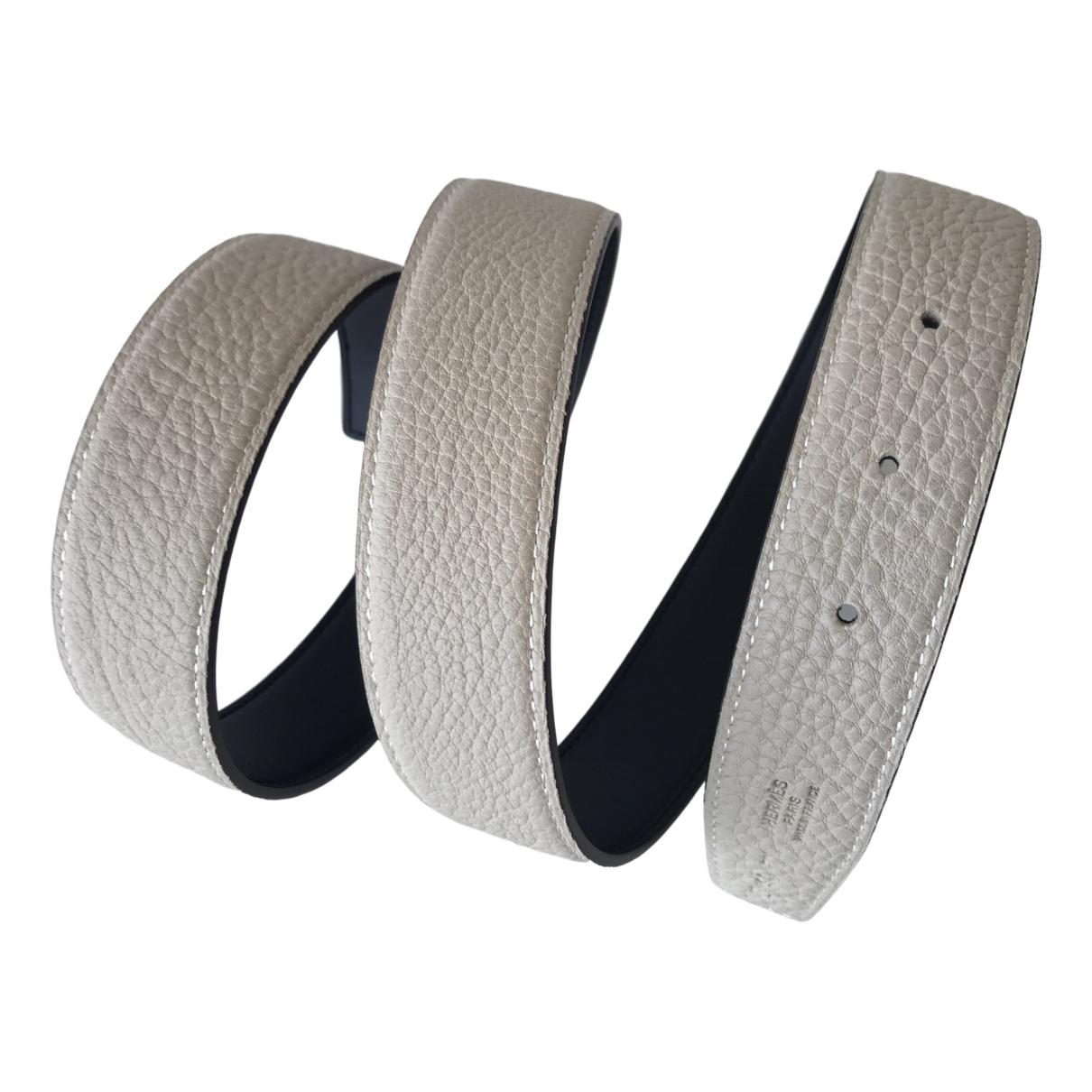 Hermes Cuir seul / Leather Strap Guertel in  Grau Leder