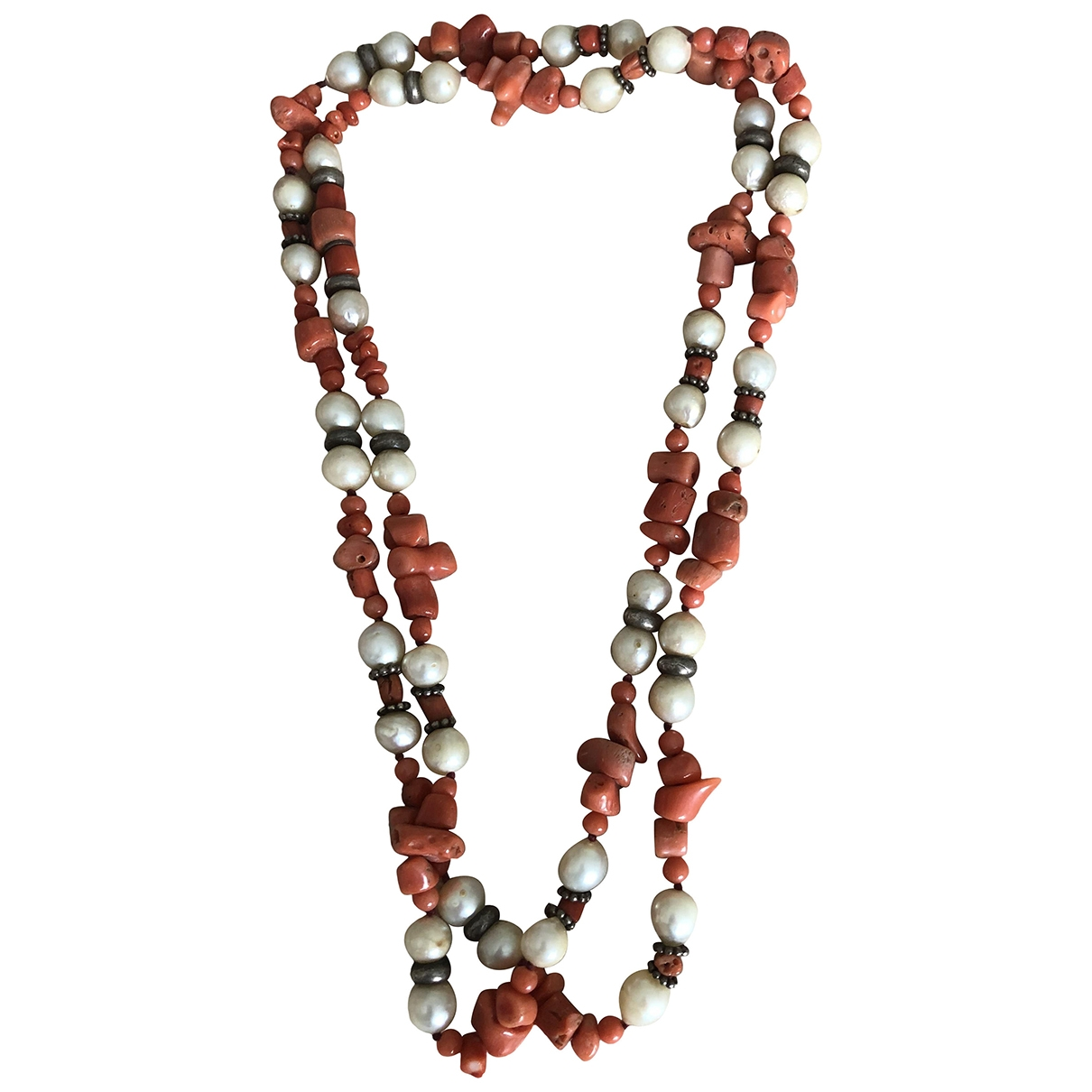 Non Signé / Unsigned \N Orange Pearls necklace for Women \N