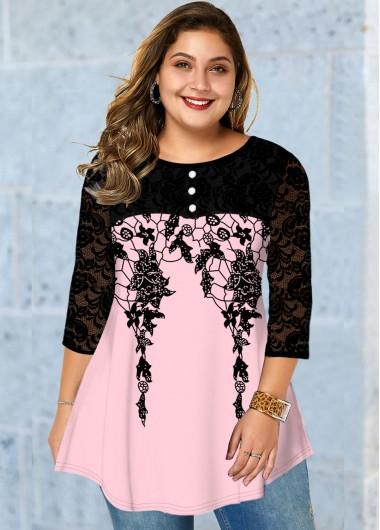 Plus Size Lace Stitching Button Detail Printed T Shirt - 2X