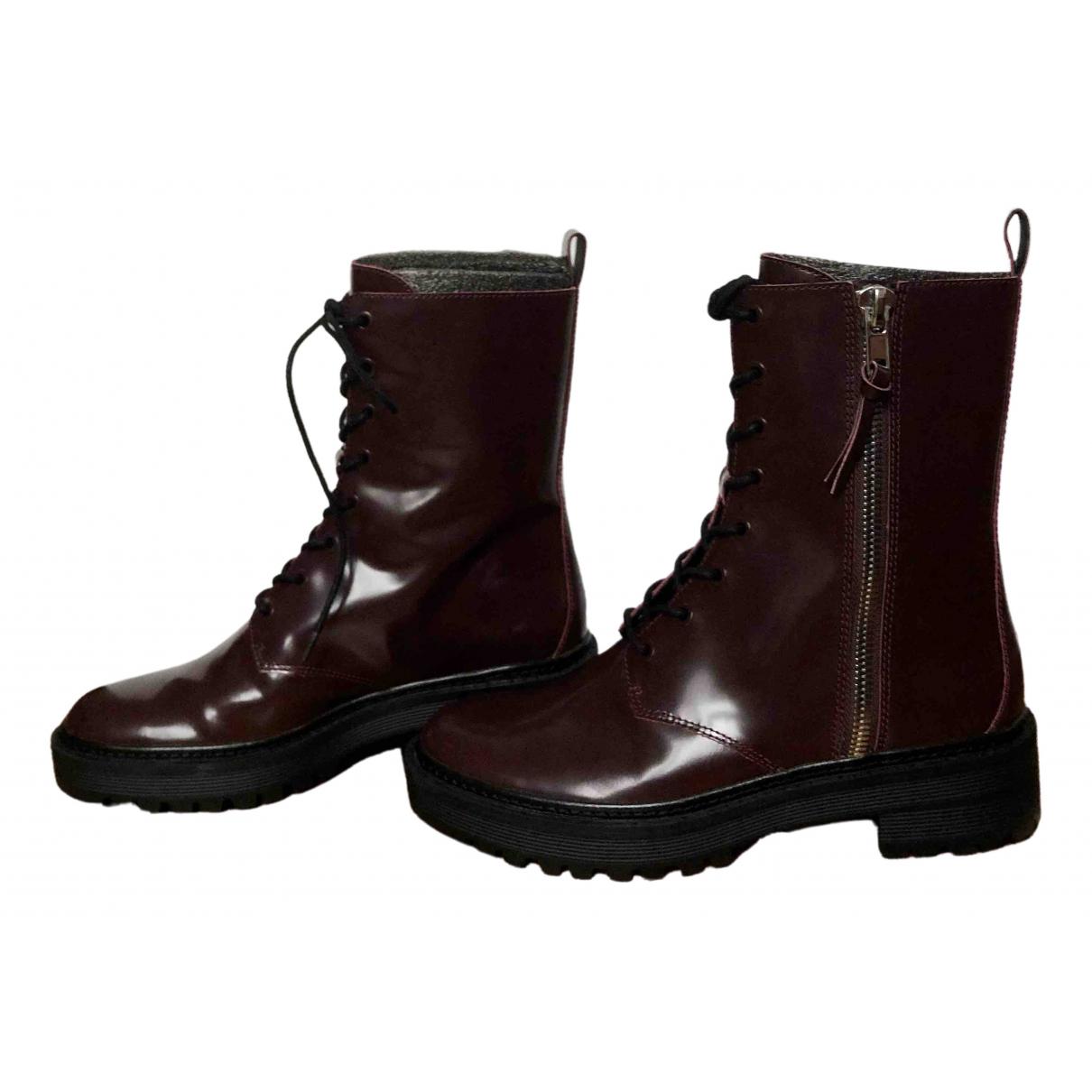 - Boots   pour femme en cuir verni - bordeaux