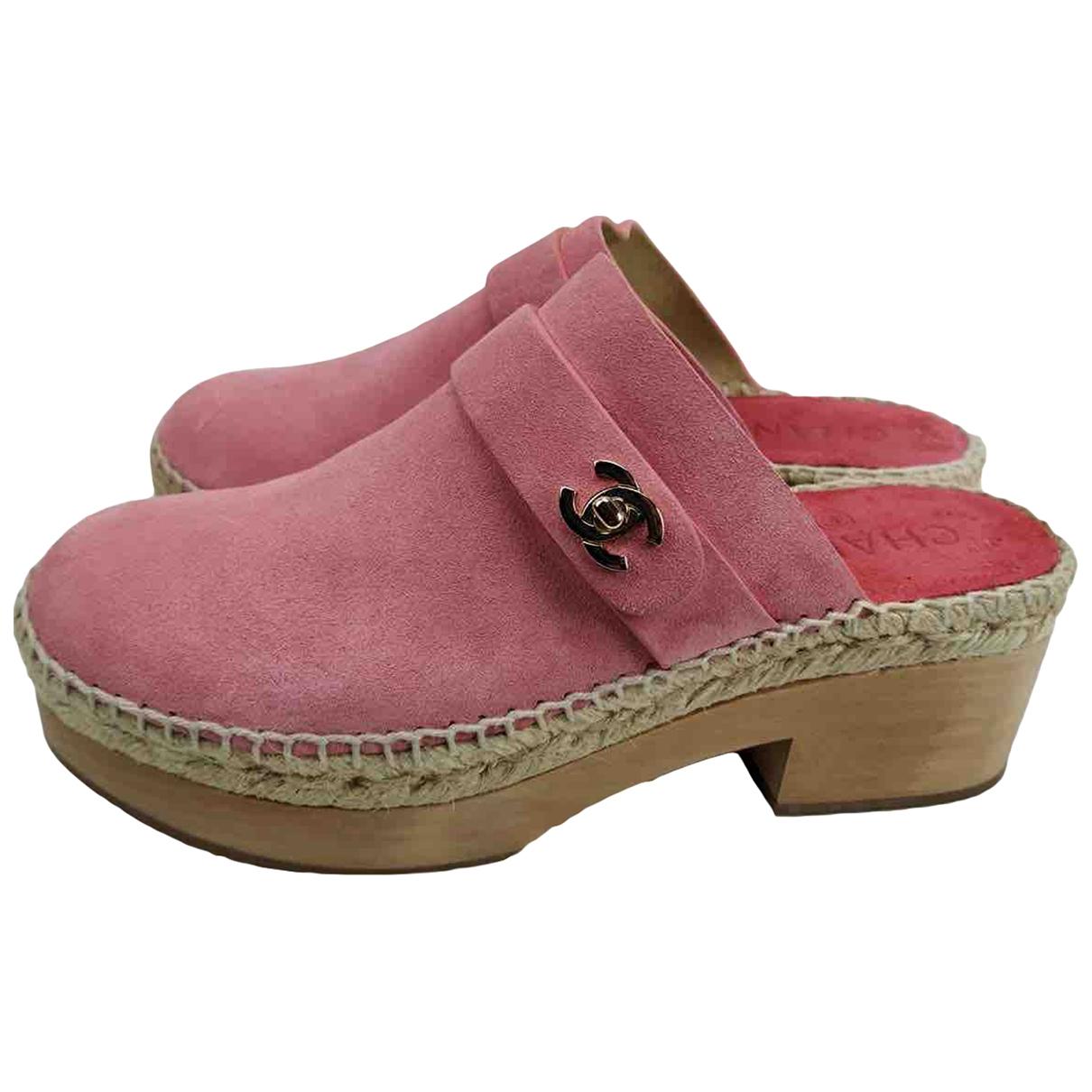 Chanel - Sabots   pour femme en suede - rose