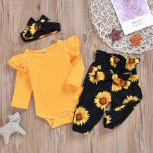 Baby Girl Ruffle Bodysuit & Floral Pants & Headband