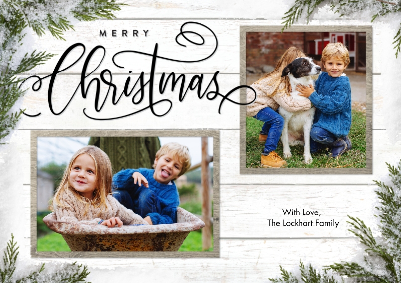 Christmas Photo Cards 5x7 Cards, Premium Cardstock 120lb with Scalloped Corners, Card & Stationery -Christmas Evergreen Snapshots by Tumbalina