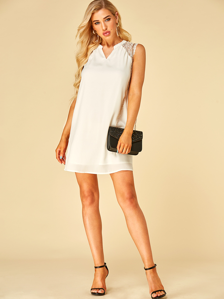 YOINS White Lace Design With Lining V neck Dress