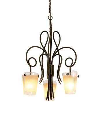 Tribecca 4298AC/FROST 3-Light Chandelier in Antique Copper with Small Frost Side Glass