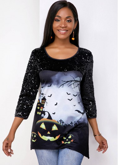 Halloween Women'S Black Bat Print Sequin Tunic T Shirt Asymmetric Hem Long Sleeve Asymmetric Hem Casual Top By Rosewe - S