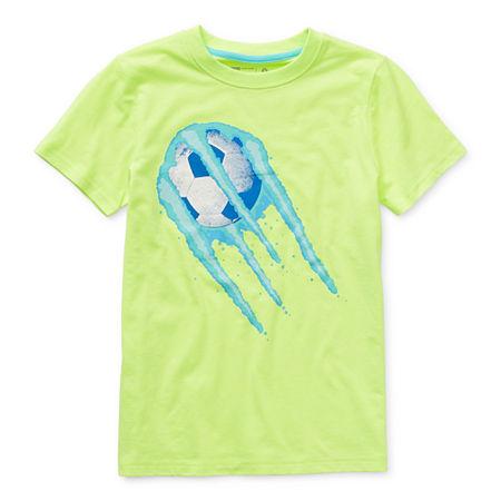 Xersion Little & Big Boys Crew Neck Short Sleeve Graphic T-Shirt, 14-16 Husky , Yellow