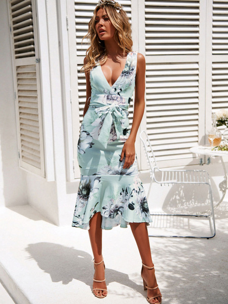 Milanoo Floral Maxi Dress Long Bodycon Dress Sleeveless Ruffles Plunging Women Wrap Dress