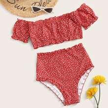 Ditsy Floral Frill Trim Bardot Bikini Swimsuit