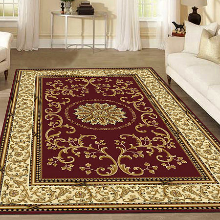 Noble Medallion Traditional Oriental Area Rug, One Size , Red