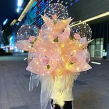 1pc Balloon & 3m String Light & 1pc Artificial Rose Set