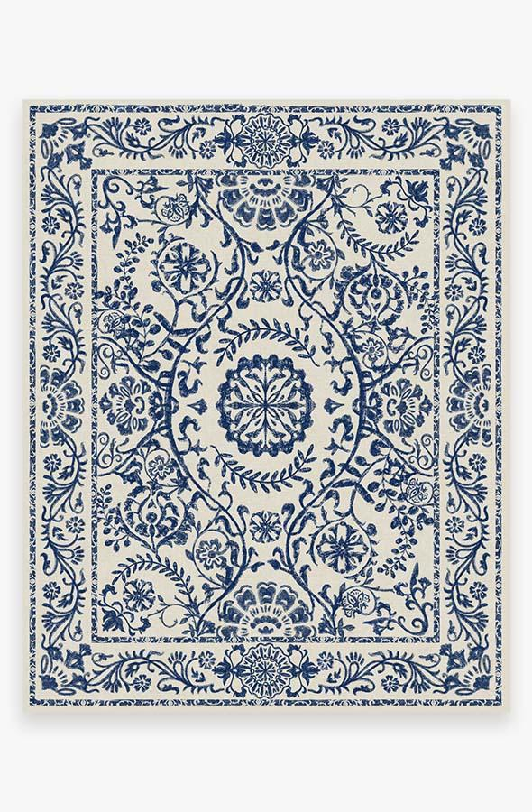 Washable Rug Cover & Pad | Delphina Delft Blue Rug | Stain-Resistant | Ruggable | 8'x10'