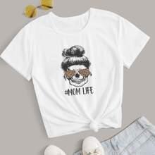 T-Shirt mit Schaedel & Buchstaben Grafik