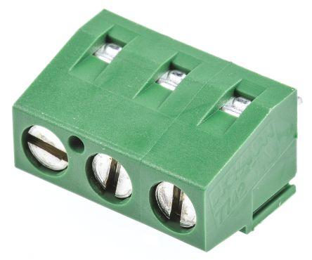 TE Connectivity , Buchanan 5.08mm Pitch, 3 Way PCB Terminal Strip, Green (5)