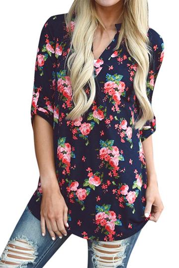Yoins Navy Random Floral Print V-neck Long Sleeves Curved Hem Blouses