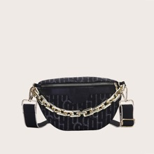 Letter Graphic Chain Decor Fanny Pack