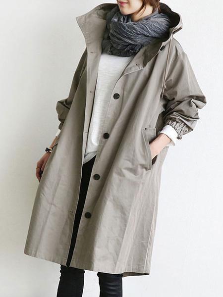 Milanoo Coat For Woman Drawstring Hooded Pockets Buttons Casual Black Wrap Coat Winter Coat