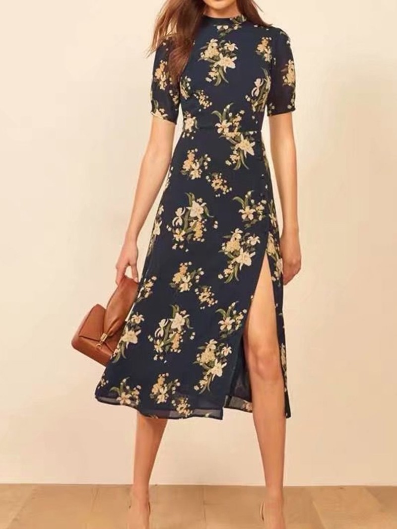 Ericdress Short Sleeve Mid-Calf Print Floral A-Line Dress