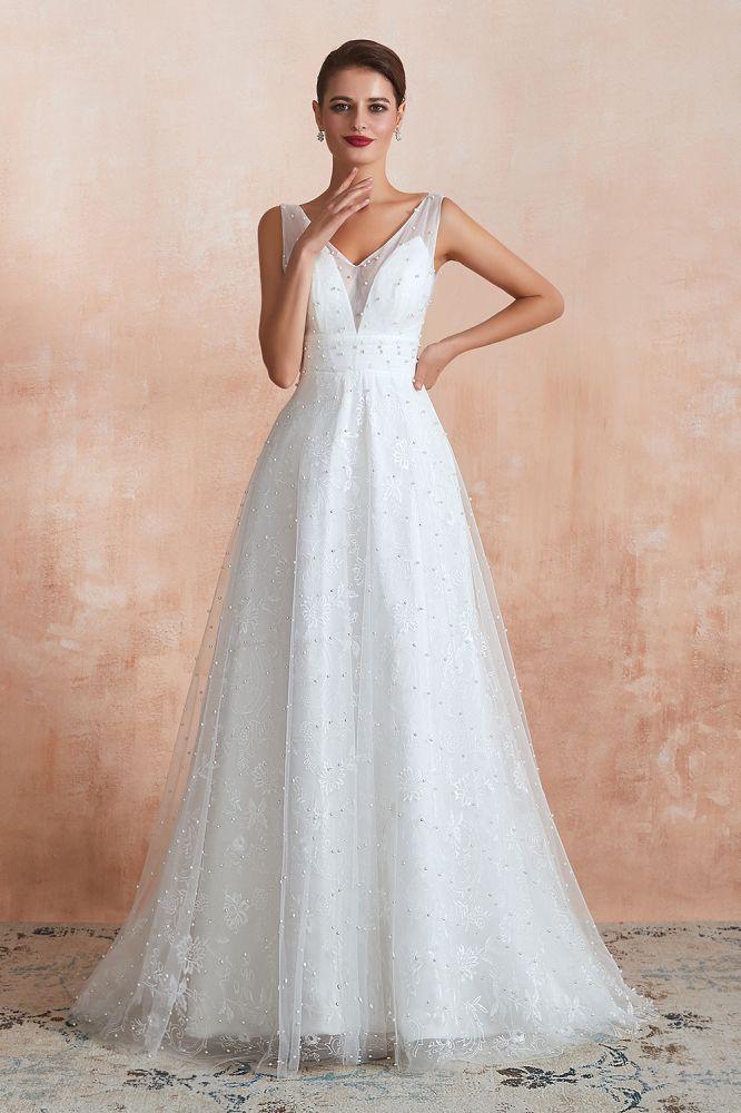 Cornaline | Robe de mariee blanche a col en V avec perles sur tulle, robes de mariee dete longues et elegantes