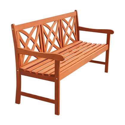 V205-1 Patio Garden Bench with Armrest  Multi-Resistant  Contoured Seats and Made from Eucalyptus Hardwood  in Natural