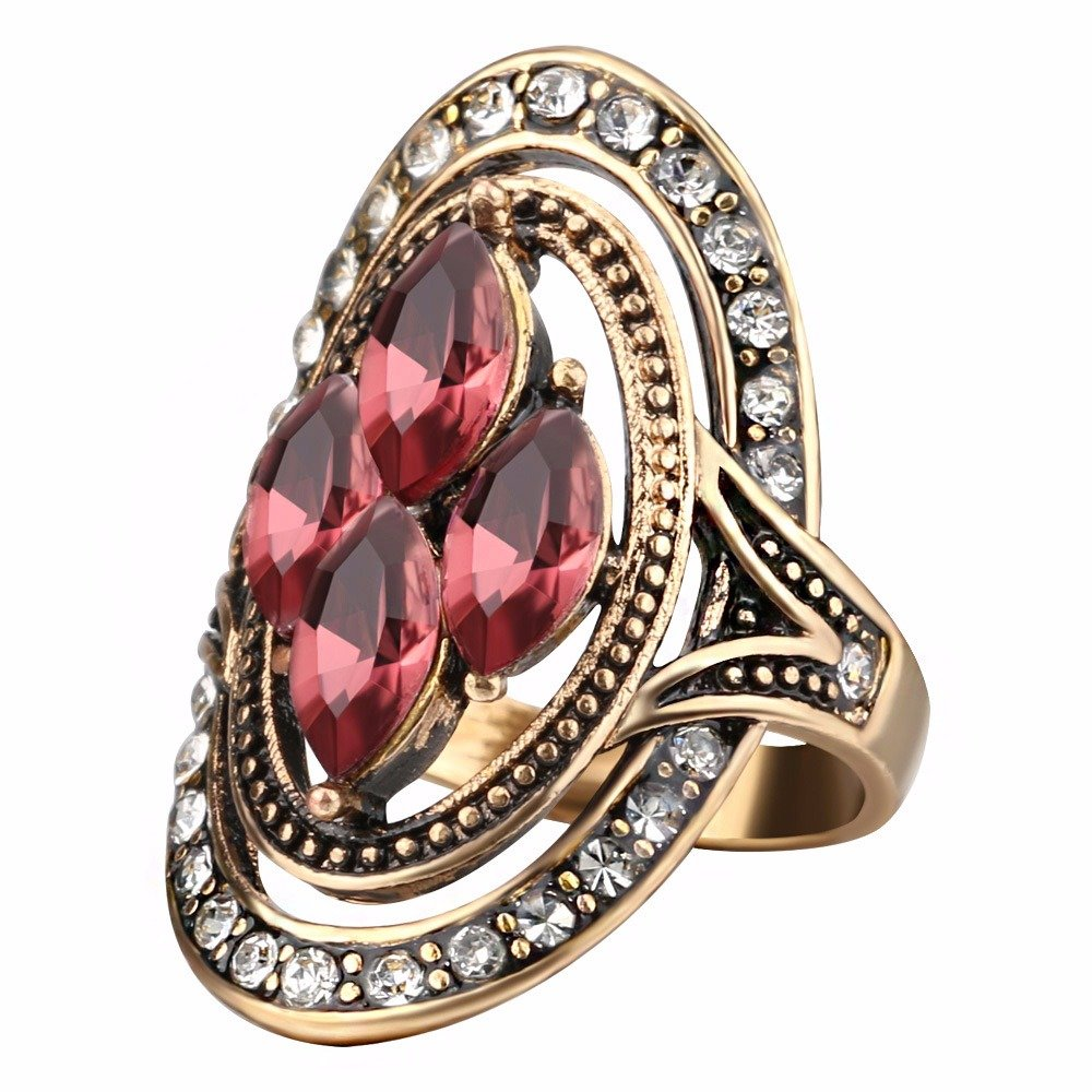 Bohemian Finger Rings Red Gemstone Crystal Hollow Oval Geometric Rings Ethnic Jewelry for Women