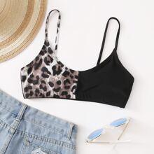 Bikini Top mit Kontrast Leopard Muster
