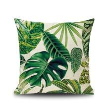 Tropical Leaf Print Cushion Cover