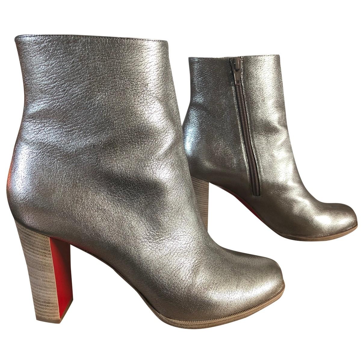 Christian Louboutin - Boots   pour femme en cuir - argente