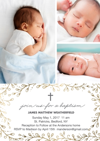 Baptism Invitations 5x7 Cards, Premium Cardstock 120lb with Elegant Corners, Card & Stationery -Baptism Gold Cross Foliage