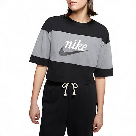 Nike Womens Crew Neck Short Sleeve Crop Top, Small , Black