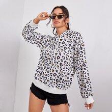 Sweatshirt mit Leopard Muster, Kordelzug und Kapuze