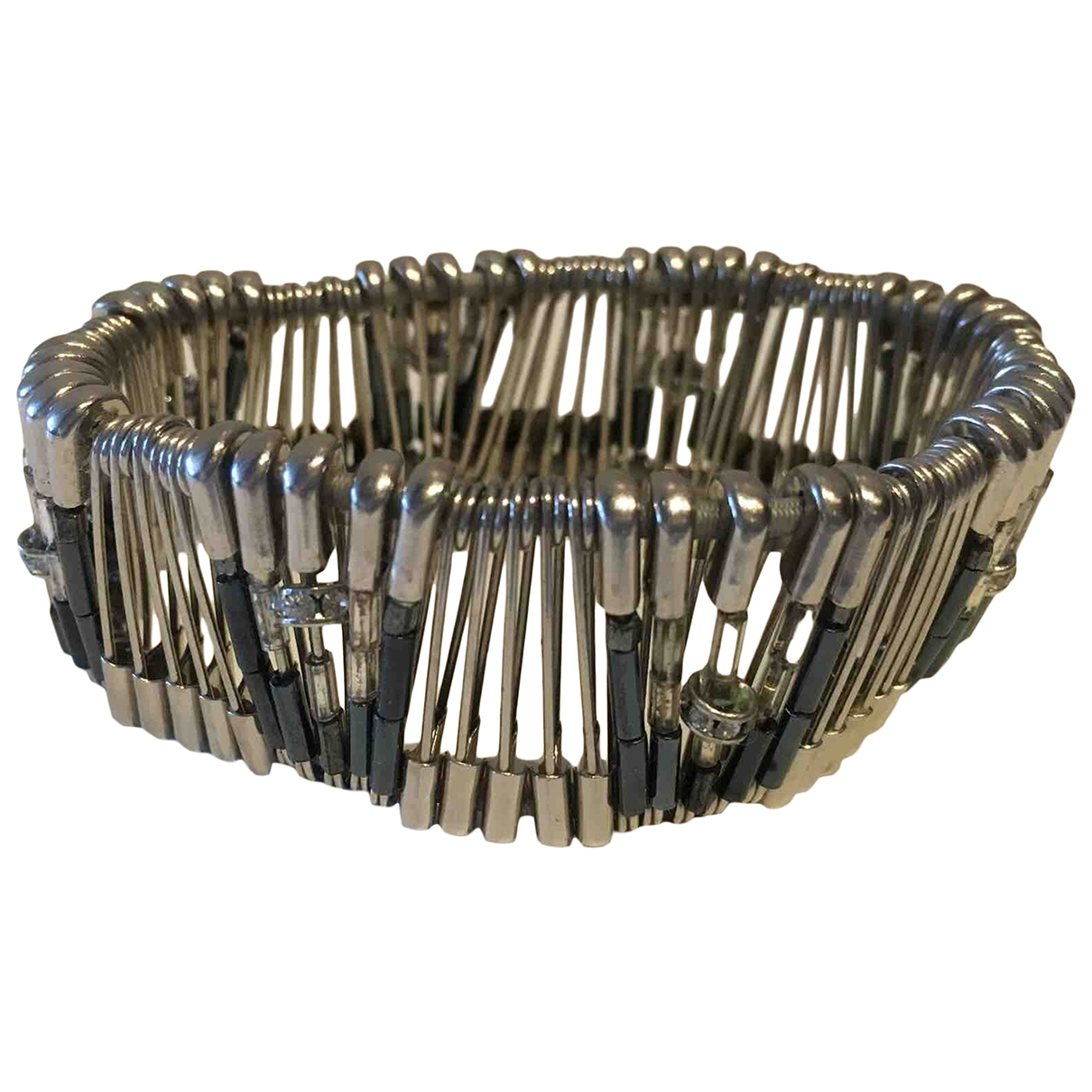 Non Signe / Unsigned Manchette Armband in  Grau Metall